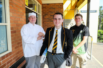 James Cavallaro, Thomas Kilby and Ryan Grouse at Champagnat Catholic College in Maroubra.