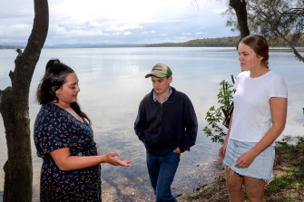 Tameka O' Donnell, 25, a Barkandji Wilykali woman from Broken Hill, Will Thomas, 15, from Tullamore, and Chelsea White, 17, from south of Narramine, the three co-presenters of the call to action.