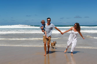 Amanda and Julian Rosenberg with their son Hunter and dog Nala have moved from Sydney to Byron Bay in recent months.