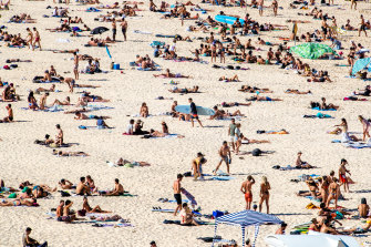 Beachgoers at Bondi in lockdown ... there'll be more on the way come Monday.