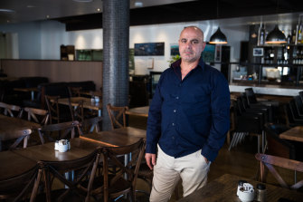 Danil Akram inside his restaurant Sienna Marina in Woolloomooloo on Thursday.