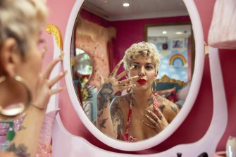 Lauren LaRouge, a former burlesque dancer, now a creative nail artist at Love LaRouge, her salon in Sydney's Stanmore.