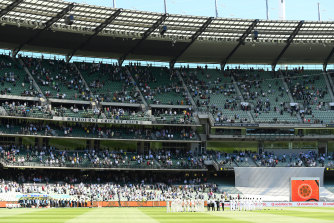 Australia and India line up for the start of this year's Boxing Day Test.