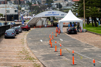 No queues at the Bondi Beach testing clinic on Sunday.