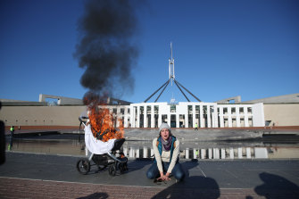 Extinction Rebellion protest at Parliament House in Canberra on Tuesday, following the release of the United Nations' Intergovernmental Panel on Climate Change report on Monday.