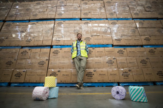 Simon Griffiths at one of Who Gives A Crap's warehouses.