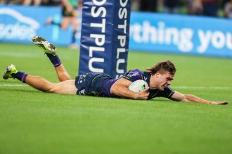 Ryan Papenhuyzen scores one of his four first-half tries.