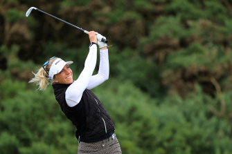 Sophia Popov has the lead at Royal Troon.