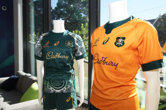 The new Wallabies jersey's are seen on display after Cadbury was announced as a major sponsor of the Wallabies and Wallaroos,
