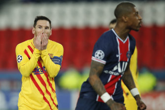 Lionel Messi reacts after missing a penalty in Barcelona's Champions League draw with Paris Saint-Germain.