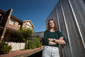 Dr Katrina Raynor, 29, at her Moonee Ponds rental home.