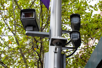 Revenue raiser: the red light and speed cameras on the corner of Oxford and Crown streets in Darlinghurst.