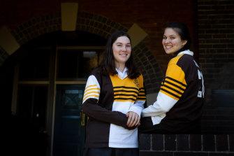 Sydney Girls High School students Caitlin McManus-Barrett, left, and Anne-Marie Schlesinger.