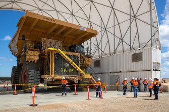 Carmichael coal mine preparation work by work crews in September 2020.