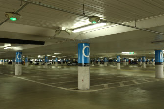 Almost empty parking bays at Tullamarine Airport during the coronavirus lockdown.