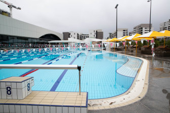 The 50-metre outdoor pool is set within a larger, irregular-shaped pool inspired by Sydney's ocean pools.