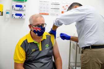 The Prime Minister receives his vaccine in March.