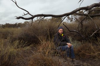 Paul Porter, a fifth-generation farmer, sits under a dead grey box tree amid indigo bushes and lignum in part of the Mirrool Creek on his property in the Riverina.