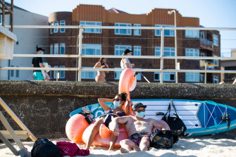 People visit Bondi beach on Sunday.