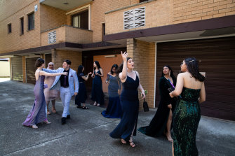 Mercoria Farhoud and her friends from St George Girls High School leave her apartment in Penshurst.