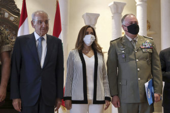 Lebanese Parliament Speaker Nabih Berri (left), the Head of Mission and Force Commander of the United Nations Interim Force in Lebanon (UNIFIL), Major-General Stefano Del Col from Italy (right) and Lebanese outgoing Defence Minister Zeina Akar at a news conference announcing the talks in Beirut.