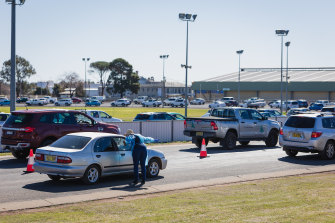 Queues at a COVID-19 testing facility at Dubbo Showground today