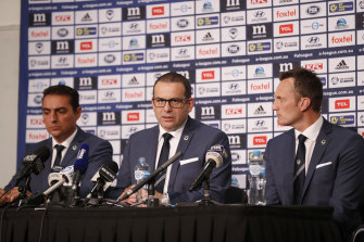 Salvachua, chairman Anthony Di Pietro and CEO Trent Jacobs front the media on Wednesday.