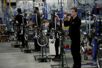 Brompton folding bicycles are assembled by hand in London.