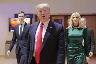 US President Donald Trump, Ivanka Trump and Jared Kushner, left, at the World Economic Forum in Davos, Switzerland in January.