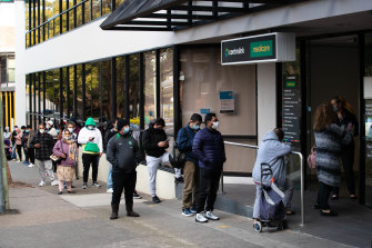 Queues outside a Sydney Centrelink office.