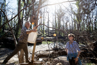 Sarah Waddell and Hugh Sinclair leave food out for wildlife that may have survived the bushfires near Kangaroo Valley.