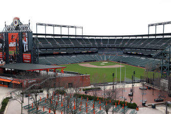 Camden Yards sits empty in Baltimore. MLB's opening day has been postponed indefinitely.