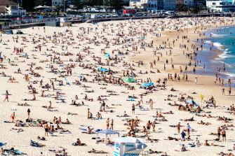 The scene at Bondi beach on Sunday.