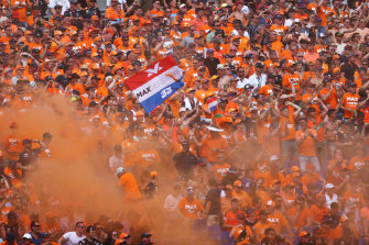 There was a sea of orange in the stands as fans turned out to support Verstappen.