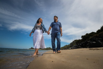 Joanne and Jean-Christophe Tomasi on the beach in Inverloch where they have now settled.