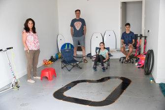 Getting through quarantine: Pauline Ioannou, her husband, Arthur, and children Sienna, 11 and Austin, 13.