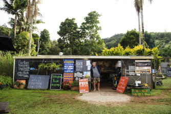 Owner of Buck's Farm, Gerard 'Buck' Buchanan stands outside his shop on the farm at Chillingham in northern NSW.