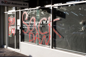 Daniel Andrews' electoral office in Noble Park, in Melbourne's south-east, was vandalised on Friday.