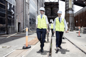 Treasurer Dominic Perrottet and Planning Minister Rob Stokes take a tour of the White Bay Power Station in Rozelle in November.