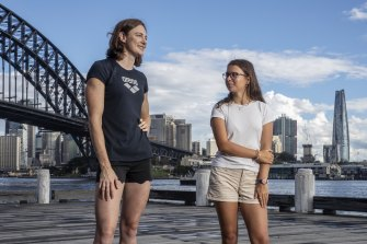 Olympic swimmer Cate Campbell with  Elin Schulz.