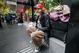 Rough sleeper David, 51, says he isn't worried but noted less people were donating money.