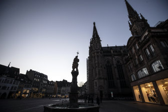 The centre of Mulhouse, a city in eastern France, believed to be the country's first cluster of COVID-19.