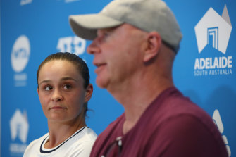 Ash Barty with coach Craig Tyzzer earlier in the year. The pair have been separated for six months.
