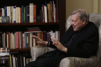 Cardinal George Pell answers a question during an interview with the Associated Press inside his residence near the Vatican in Rome in November.