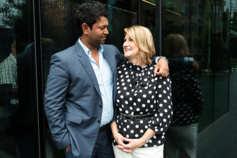 Saroo and Sue Brierley in 2017.