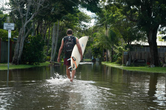 Heavy rain caused flooding in Byron Bay. Joaquin Robredo is on holiday from Argentina.