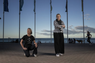 Zali Stegall (right) campaigns against offshore drilling with surfer Layne Beachley.