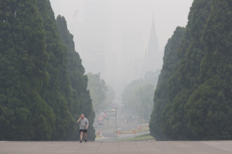 The view from the Shrine of Remembrance on Monday afternoon. Visibility was as low as 500 metres in some parts.