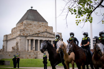 There was a strong police presence at the Shrine on Wednesday following a series of anti-lockdown protests at the monument.