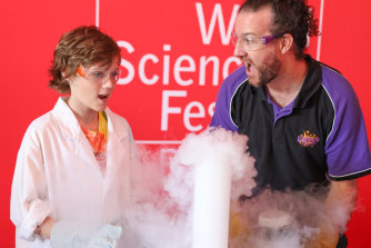 A liquid nitrogen explosion at Sunday's launch of World Science Festival Brisbane 2021 at the Queensland Museum.